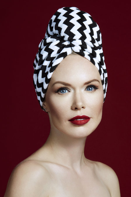 Hair Drying Turban-AGLIQUE ZIG ZAG-cotton finish