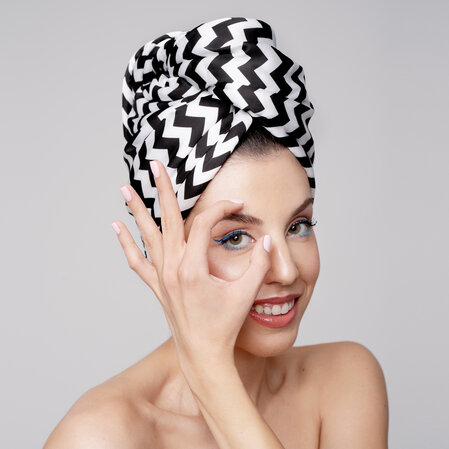 Hair Drying Turban-AGLIQUE ZIG ZAG- satin finish