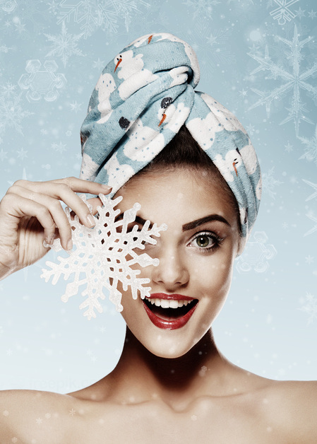Hair Drying Turban - AGLIQUE SNOWMAN - Cotton Finish